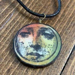 Black leather face necklace